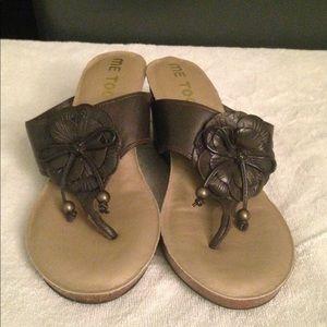 Preloved Me Too brown leather wedge sandals